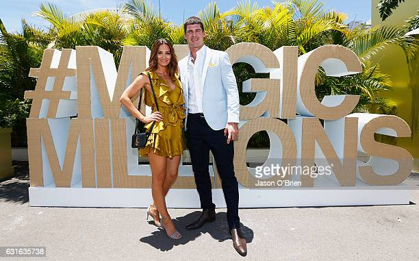 Kylie Brown and Jonathan Brown attend Magic Millions Raceday on January 14 2017 in Gold Coast Australia