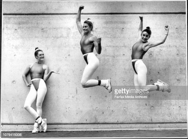 LR Kylie Eason Sharon Brierty and Jenny Campbell representing the Central Coast League Club in the Teams Comp of the 1990Aust World Cup Aerobic...