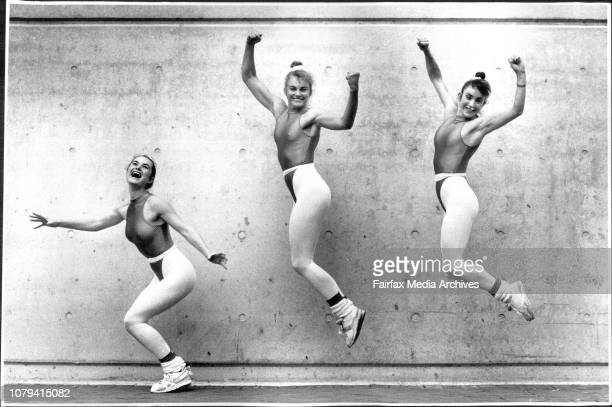 LR Kylie Eason Sharon Brierty and Jenny Campbell representing the Central Coast Leagues Club in the Teams Comp of the 1990 Aust World Cup Aerobics...
