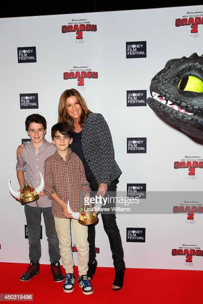 Kylie Gillies and her sons Gus and Archie attend the 'How To Train Your Dragon 2' Australian premiere at Event Cinemas George Street on June 9 2014...