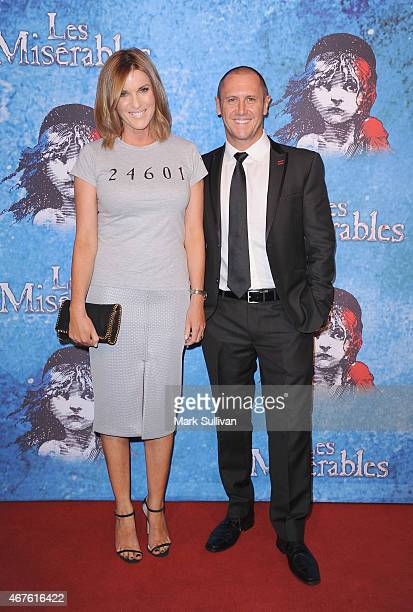 Kylie Gillies and Larry Emdur at the opening of Les Miserables at Capitol Theatre on March 26 2015 in Sydney Australia