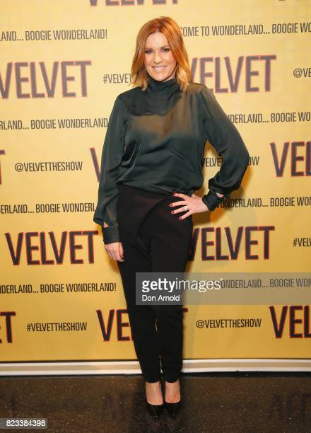 Kylie Gillies arrives ahead of the VELVET opening night at Roslyn Packer Theatre on July 27 2017 in Sydney Australia