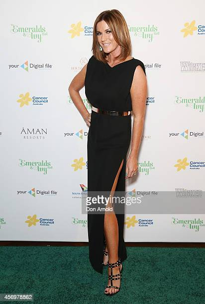 Kylie Gillies arrives at The Emeralds and Ivy Ball at Sydney Town Hall on October 10 2014 in Sydney Australia