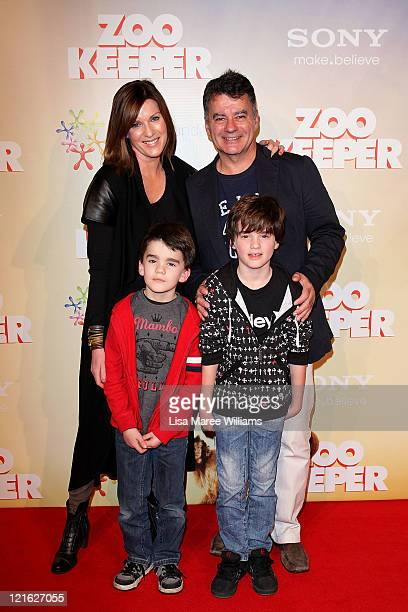 Kylie Gillies Tony Gillies and children Archie and Gus arrive at the Zookeeper Australian premiere at Event Cinemas at Westfield Bondi Junction on...