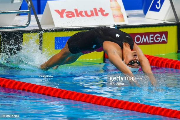 Kylie Jacqueline Masse competes during the Women's 100m Backstroke heat during the Budapest 2017 FINA World Championships on July 24 2017 in Budapest...