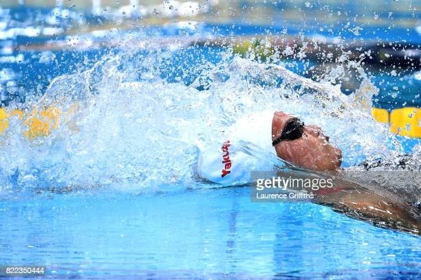 Kylie Jacqueline Masse of Canada competes during the Women's 100m Backstroke final on day twelve of the Budapest 2017 FINA World Championships on...
