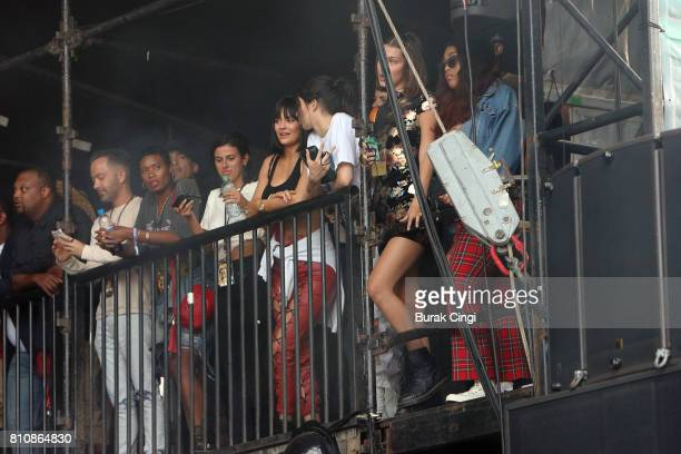 Kylie Jennar Kendall Jenner and Bella Hadid watch Travis Scott perform on day 2 of Wireless Festival at Finsbury Park on July 8 2017 in London England