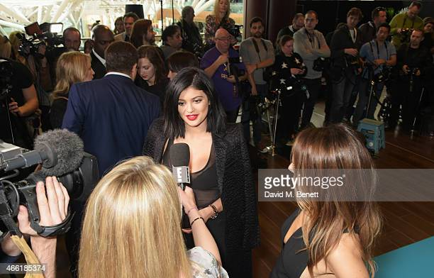 Kylie Jenner, ambassador for NIP+FAB, is interviewed at a photocall for NIP+FAB at Vue Westfield on March 14, 2015 in London, England.
