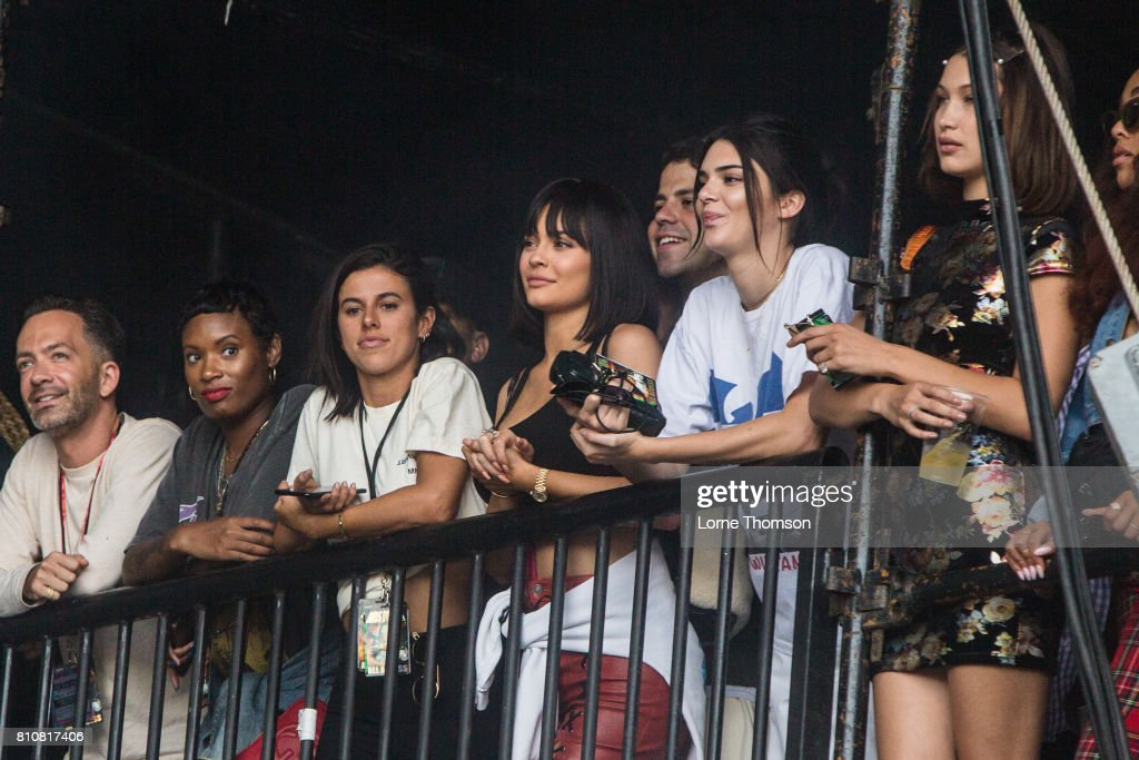 Kylie Jenner and Kendall Jenner watch Travis Scott's set, side of stage at Wireless Festival Day 2 at Finsbury Park on July 8, 2017 in London, England.