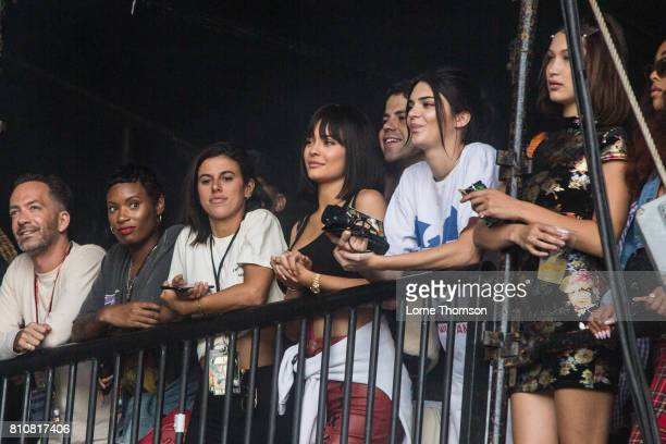 Kylie Jenner and Kendall Jenner watch Travis Scott's set side of stage at Wireless Festival Day 2 at Finsbury Park on July 8 2017 in London England