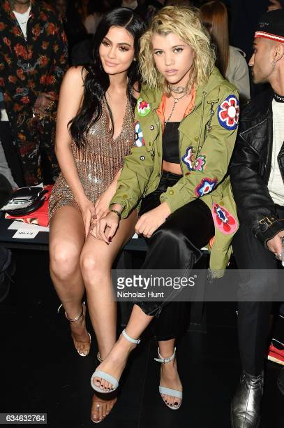 Kylie Jenner and Sofia Richie attend the Jeremy Scott collection during New York Fashion Week The Shows at Gallery 1 Skylight Clarkson Sq on February...