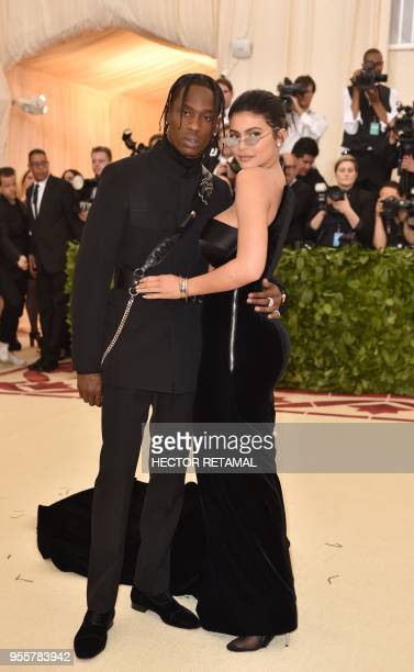 Kylie Jenner and Travis Scott arrive for the 2018 Met Gala on May 7 at the Metropolitan Museum of Art in New York The Gala raises money for the...