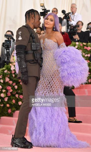 Kylie Jenner and Travis Scott arrive for the 2019 Met Gala at the Metropolitan Museum of Art on May 6 in New York The Gala raises money for the...