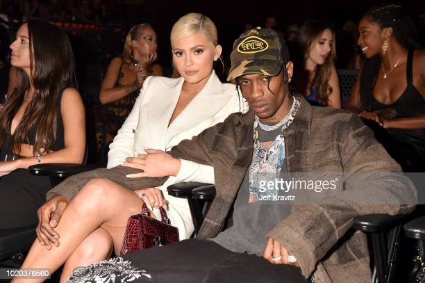 Kylie Jenner and Travis Scott attend the 2018 MTV Video Music Awards at Radio City Music Hall on August 20 2018 in New York City