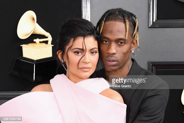 Kylie Jenner and Travis Scott attend the 61st Annual GRAMMY Awards at Staples Center on February 10 2019 in Los Angeles California