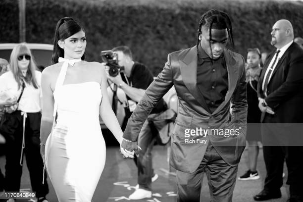 "Kylie Jenner and Travis Scott attend the premiere of Netflix's ""Travis Scott: Look Mom I Can Fly"" at Barker Hangar on August 27, 2019 in Santa..."