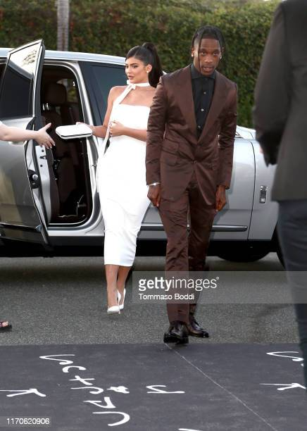 "Kylie Jenner and Travis Scott attend the Travis Scott: ""Look Mom I Can Fly"" Los Angeles Premiere at The Barker Hanger on August 27, 2019 in Santa..."