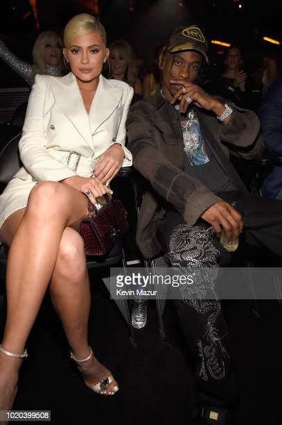 Kylie Jenner and Travis Scott inside the 2018 MTV Video Music Awards at Radio City Music Hall on August 20 2018 in New York City