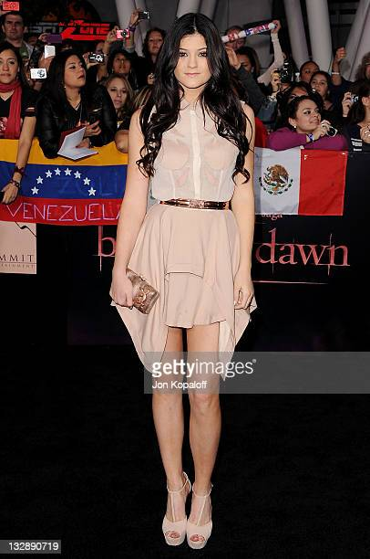 Kylie Jenner arrives at the Los Angeles Premiere The Twilight Saga Breaking Dawn Part 1 at Nokia Theatre LA Live on November 14 2011 in Los Angeles...