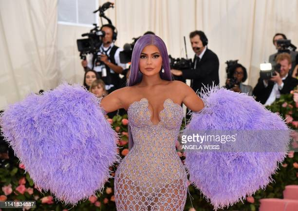 TOPSHOT Kylie Jenner arrives for the 2019 Met Gala at the Metropolitan Museum of Art on May 6 in New York The Gala raises money for the Metropolitan...
