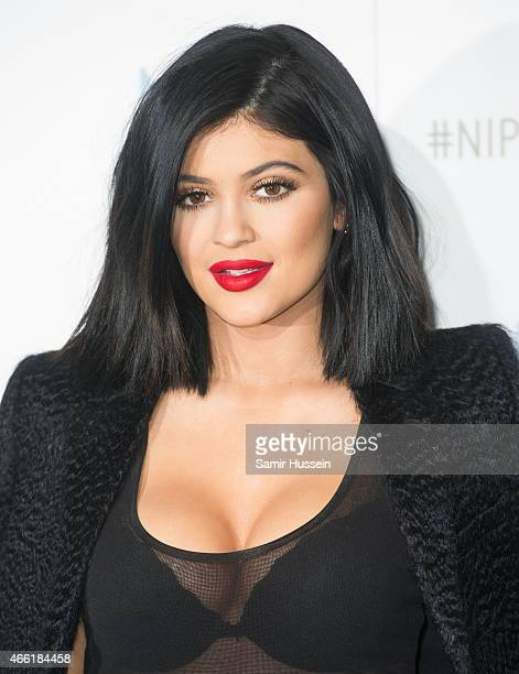 Kylie Jenner attends a photocall in her role as ambassador for NipFab at Westfield London on March 14 2015 in London England