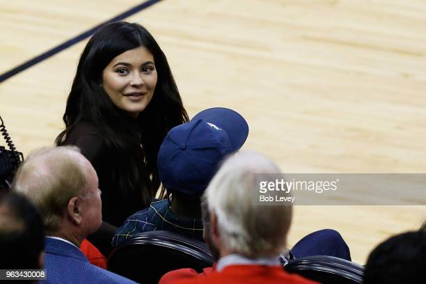 Kylie Jenner attends Game Seven of the Western Conference Finals of the 2018 NBA Playoffs between the Houston Rockets and the Golden State Warriors...