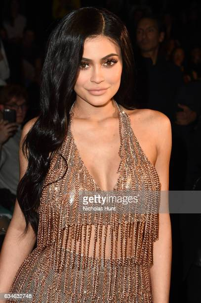 Kylie Jenner attends the Jeremy Scott collection during New York Fashion Week The Shows at Gallery 1 Skylight Clarkson Sq on February 10 2017 in New...