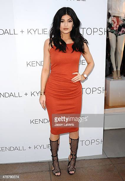 Kylie Jenner attends the Kendall Kylie fashion line launch party at TopShop on June 3 2015 in Los Angeles California