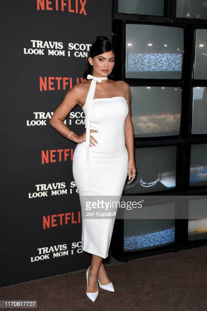 "Kylie Jenner attends the premiere of Netflix's ""Travis Scott: Look Mom I Can Fly"" at Barker Hangar on August 27, 2019 in Santa Monica, California."
