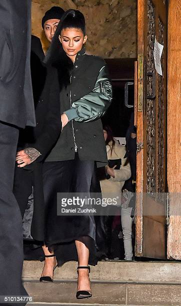 Kylie Jenner is seen outside the Alexander Wang show during New York Fashion Week Women's Fall/Winter 2016 on February 13 2016 in New York City