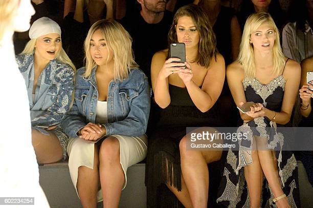 Kylie Jenner Jordyn Woods Ashley Graham and Devon Windsor attend the Jonathan Simkhai fashion show during New York Fashion Week The Shows at The Arc...