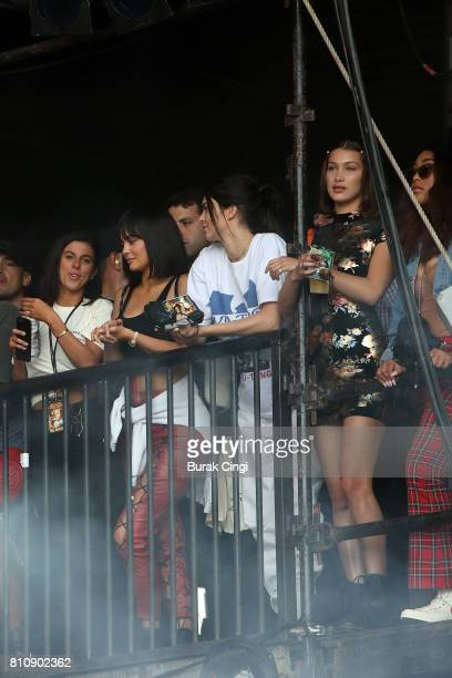 Kylie Jenner Kendall Jenner and Bella Hadid watch Travis Scott perform on day 2 of Wireless Festival at Finsbury Park on July 8 2017 in London England