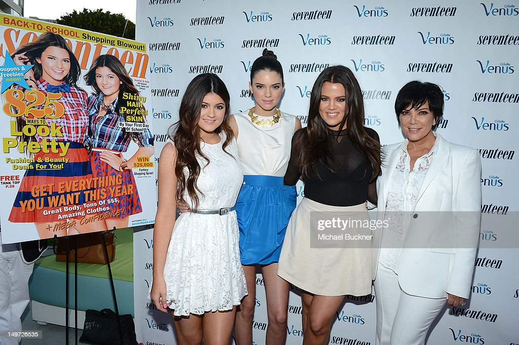 Kylie Jenner, Kendall Jenner, Khloe Kardashian and Kris Jenner attend Seventeen Magazine's September Issue Celebration with Kendall Jenner and Kylie Jenner at the W Hotel Westwood on August 2, 2012 in Westwood, California.