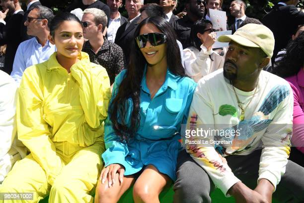 Kylie Jenner Kim Kardashian and Kanye West attend the Louis Vuitton Menswear Spring/Summer 2019 show as part of Paris Fashion Week on June 21 2018 in...