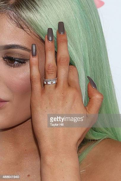 Kylie Jenner manicure detail jewelry detail attends the Sugar Factory American Brasserie on September 16 2015 in New York City