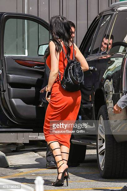 Kylie Jenner promotes TopShop at the Grove with her dog Norman on June 03 2015 in Los Angeles California
