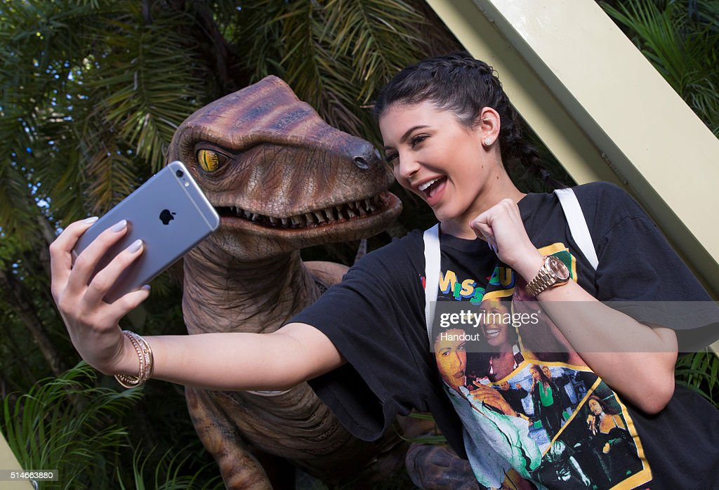 Velociraptor Greets Kylie Jenner During Her Visit To Universal Orlando Resort