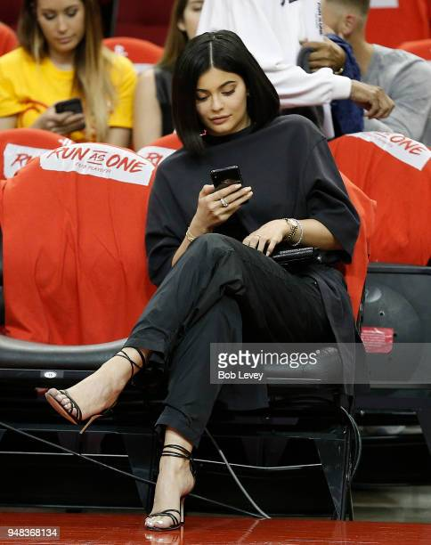 Kylie Jenner sits court side before Game Two of the first round of the Western Conference playoffs at Toyota Center on April 18 2018 in Houston Texas...