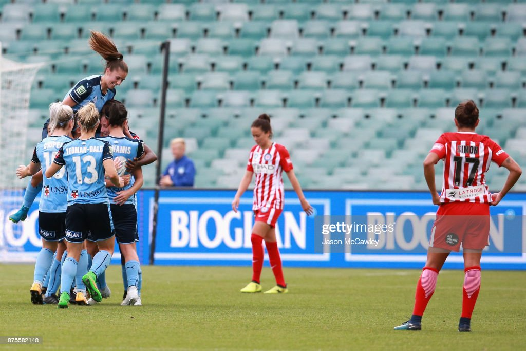 Kylie Ledbrook of Sydney celebrates with team mates after scoring a goal during the round four W-League match between Sydney and Melbourne City at Allianz Stadium on November 18, 2017 in Sydney, Australia.
