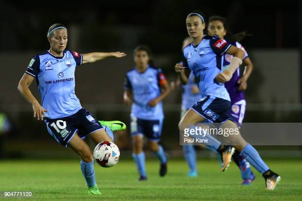 Kylie Ledbrook of Sydney runs crosses the ball during the round 11 WLeague match between the Perth Glory and Sydney FC at Dorrien Gardens on January...