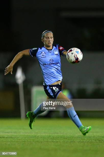 Kylie Ledbrook of Sydney runs onto the ball during the round 11 WLeague match between the Perth Glory and Sydney FC at Dorrien Gardens on January 14...