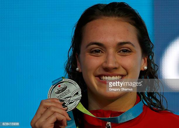 Kylie Masse of Canada celebrates her silver medal in the 100m Backstroke final on day two of the 13th FINA World Swimming Championships at the WFCU...