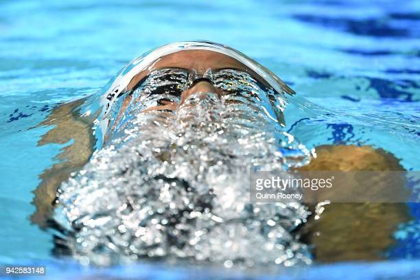 Kylie Masse of Canada competes during the Women's 100m Backstroke Semifinal 2 on day two of the Gold Coast 2018 Commonwealth Games at Optus Aquatic...