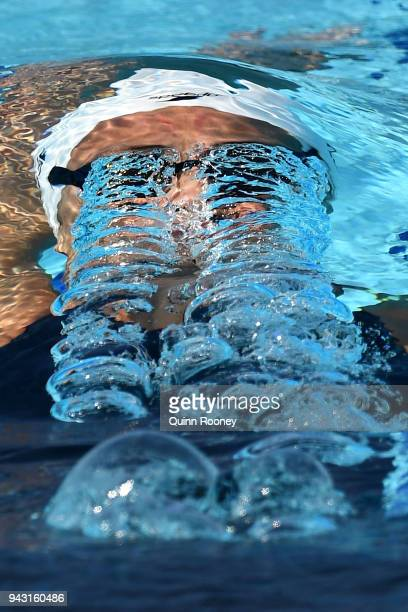 Kylie Masse of Canada competes during the Women's 200m Backstroke Heat 2 on day four of the Gold Coast 2018 Commonwealth Games at Optus Aquatic...