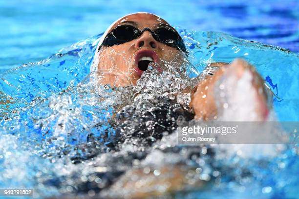 Kylie Masse of Canada competes during the Women's 200m Backstroke Final on day four of the Gold Coast 2018 Commonwealth Games at Optus Aquatic Centre...