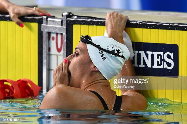 Kylie Masse of Canada looks on following the Women's 200m Backstroke Final on day four of the Gold Coast 2018 Commonwealth Games at Optus Aquatic...