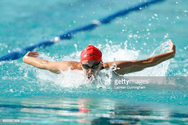 Kylie Masse swims in the 100m butterfly heats during Day 2 of the 2017 Arena Pro Swim Series Santa Clara at George F Haines International Swim Center...