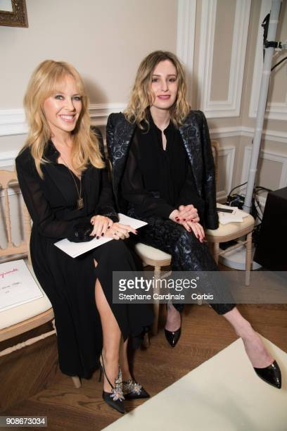 Kylie Minogue and actress Laura Carmichael attend the Schiaparelli Haute Couture Spring Summer 2018 show as part of Paris Fashion Week January 22...