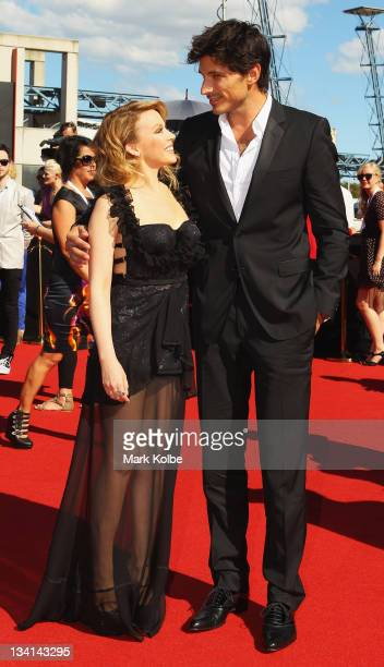 Kylie Minogue and Andres Velencoso arrive at the 2011 ARIA Awards at Allphones Arena on November 27 2011 in Sydney Australia