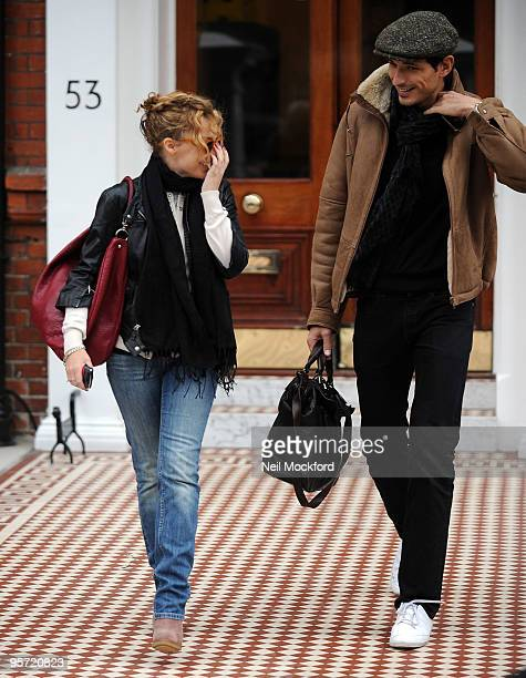 Kylie Minogue and Andres Velencoso sighted leaving her home and heading out to lunch together on January 12 2010 in London England